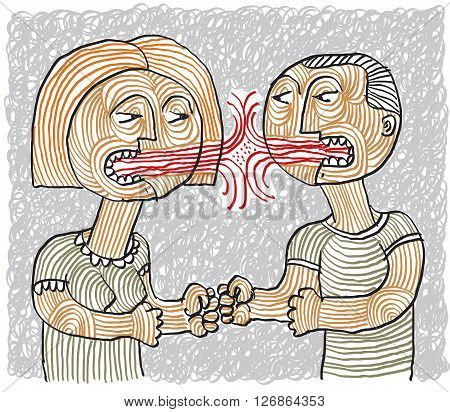Quarrel between man and woman conceptual hand-drawn stripy illustration. Dispute metaphor aggression between husband and wife.
