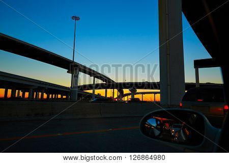 Sunset in Highway with bridges in Houston Texas US