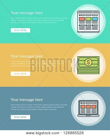 Flat line Business Concept Web Site Banners Set Vector illustration. Modern thin linear stroke vector icons. For Website Advertising  Graphics, Mobile Apps, Web Page Layout design. Vector Icons.