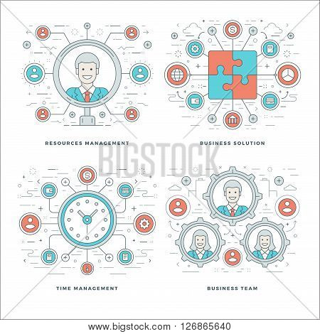 Flat line Management, Team Building, Success, Employee Search, Business Concepts Set Vector illustrations. Modern thin linear stroke vector icons. Website Header Graphics, Banner, Infographics Design