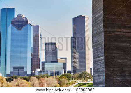 Houston city skyline from west in Texas USA