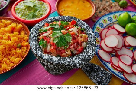 Pico de gallos mexican sauce with rice and salsas