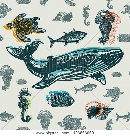 Sea animals colorful seamless vector pattern. Realistic engraved style of Sea animals on old paper.
