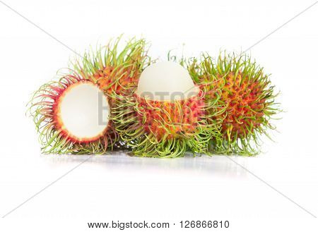 the fresh rambutan fruit on white background