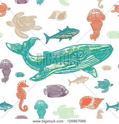 Sea animals colorful seamless vector pattern. Realistic engraved style of Sea animals on white background.