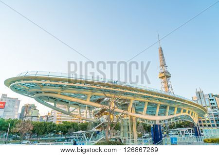 NAGOYA, JAPAN - FEB 07: Oasis 21 in Nagoya, Japan on FEB 07, 2016. A shopping complex nearby Nagoya Tower, its large oval glass roof structure floats above ground level