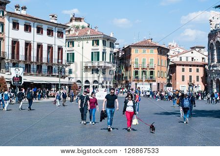 11 april 2016-verona-italy-street view by the square near the Arena in Verona