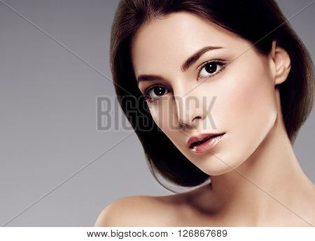 Woman Beauty Face Portrait With Healthy Skin