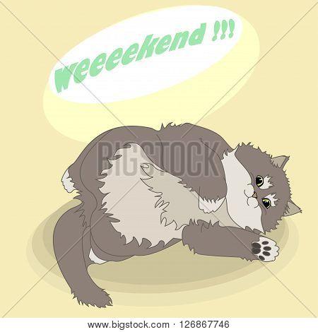 vector illustration of a lazy fluffy cat