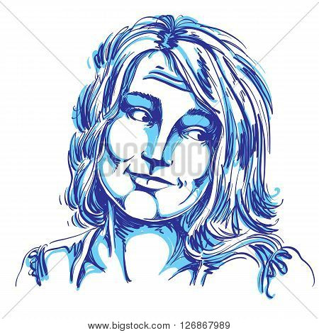 Monochrome Vector Hand-drawn Image, Blameworthy Young Woman. Black And White Illustration Of Regretf