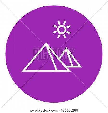 Egyptian pyramids line icon
