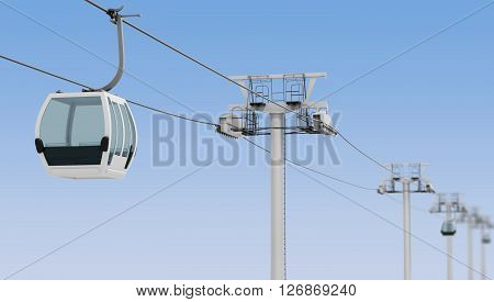 Funicular and cable car on blue sky background. 3d rendering.