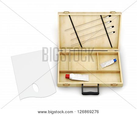 Wooden case artist and palette isolated on white background. Top view. 3d rendering.