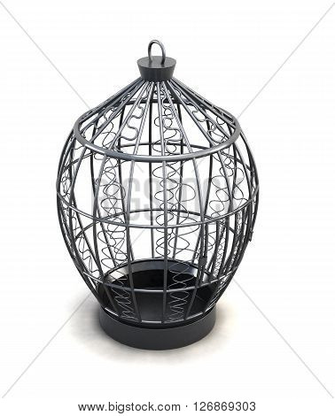 Metal birdcage with ornaments isolated on white background. 3d render image