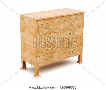 Wooden dresser isolated on white background. 3d render image.
