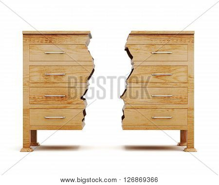 Two halves of dresser isolated on white background. Wooden chest. Conceptual image. Front view. 3d rendering