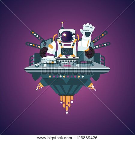 Astronaut with turntable on a party in a nightclub. Space Dj
