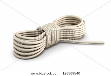 Climbing rope isolated on white background. 3d rendering.