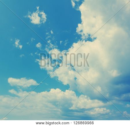 Beautiful Blue Sky With Clouds. Natural Background