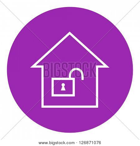 House with open lock line icon.