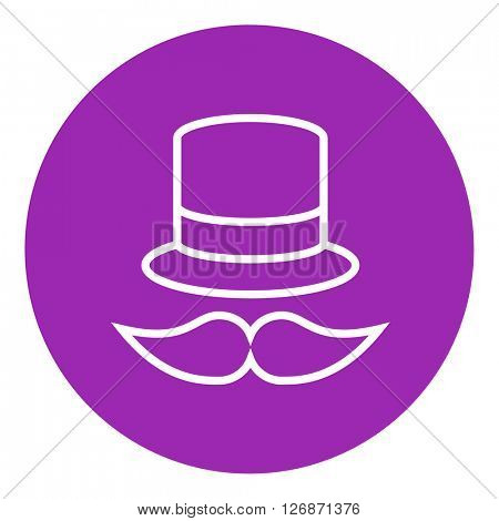 Hat and mustache line icon.