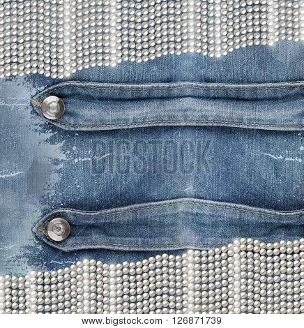 Old Denim Background With Pearls