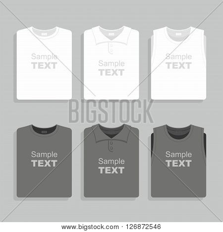 Folded black and white t-shirts set. Vector illustration