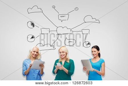 people, technology, cloud computing, communication and leisure concept - happy women with smartphone and tablet pc computers with scheme over gray background