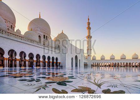 Abu Dhabi, UAE- March 2, 2016:Sheikh Zayed Grand Mosque in Abu Dhabi UAE