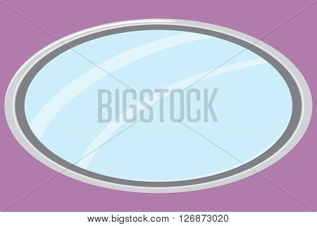 Mirror isolated oval form. Mirror furniture oval mirror frame and fashion mirror. Vector flat design illustration