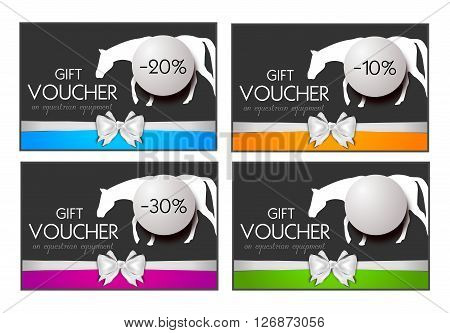 Set of four gift vouchers on equestrian equipment