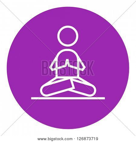 Man meditating in lotus pose line icon.