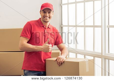 Handsome Worker Helping To Move