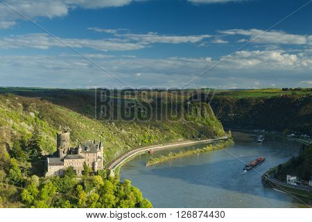 Panorama of the Rhine River Valley with Castle Katz Germany