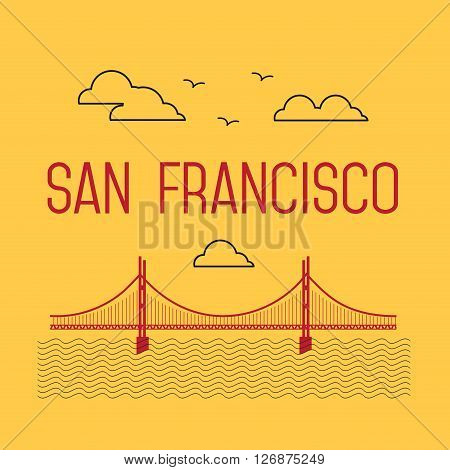 San Francisco Golden Gate Bridge. San Francisco landmark illustration. Line flat style. San Francisco view