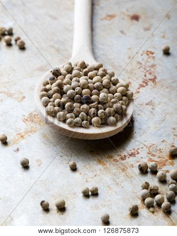 White Peppercorn Seeds On Steel Plate