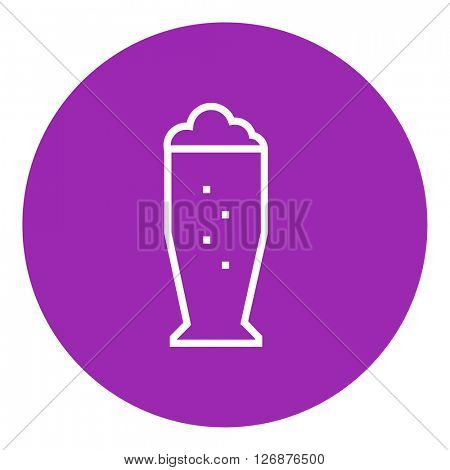 Glass of beer line icon.