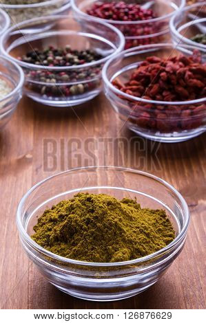 Curry Spice In A Glass Bowl