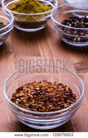 Chili Flakes In A Glass Bowl