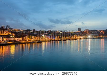 Porto, Portugal - January 2: the waterfront of the river Douro in the evening, in January 2, 2016, in Porto, Portugal.