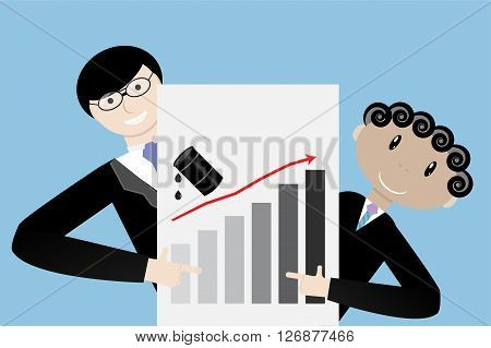 Business team presentation oil up increase. Industry gasoline and rise oil growth petrol financial price. Vector flat design illustration