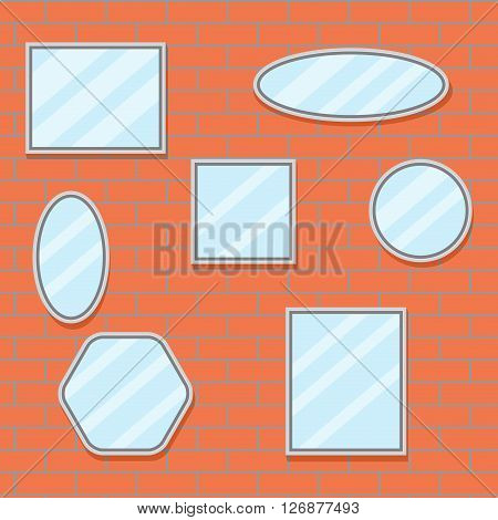 Mirror set design brick wall. Mirror frame border mirror on wall baroque mirror oval and mirror furniture. Vector flat design illustration