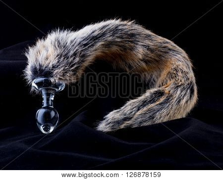 anal plug with sintetich fur like a fox