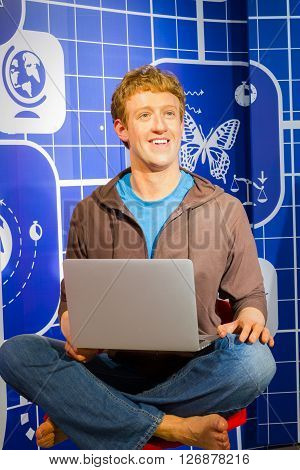 BANGKOK THAILAND - DECEMBER 19: Wax figure of the famous Mark Zuckerberg from Madame Tussauds on December 19 2015 in Bangkok Thailand.