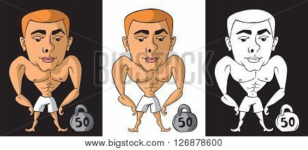 illustration on white and black background athlete bodybuilder with a kettlebell