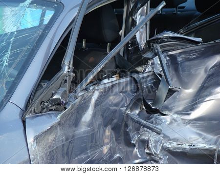 car after the accidentthe damaged car after the collision.