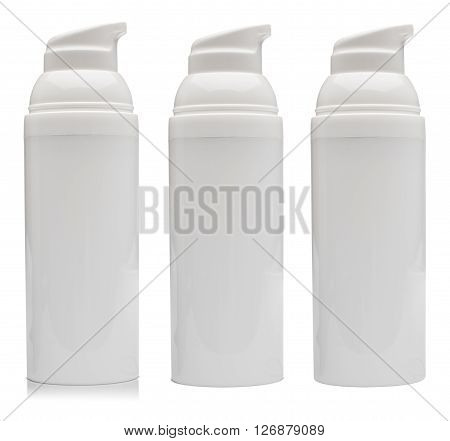 Dosaging white plastic container for cosmetics. This container is blank isolated on white background and it is shown with shadow and without.