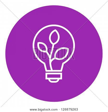 Lightbulb and plant inside line icon.