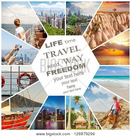 Beautiful vacation collage made from mahy photos. With space for text and information