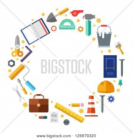 Builder tools in the shape of circle. Vector Illustration in flat design style for web banners or promotional materials